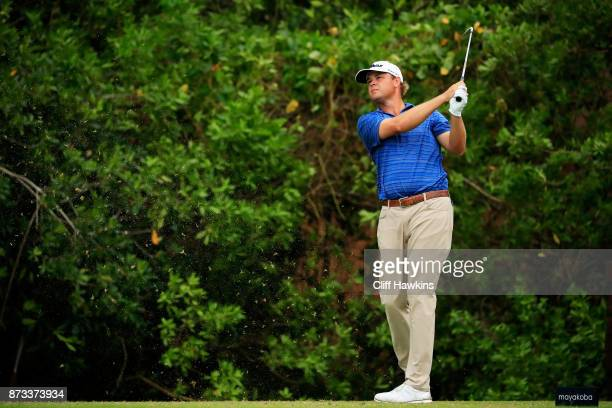 Patton Kizzire of the United States plays his shot from the 15th tee during the final round of the OHL Classic at Mayakoba on November 12 2017 in...