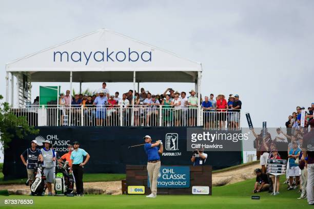 Patton Kizzire of the United States plays his shot from the 16th tee during the final round of the OHL Classic at Mayakoba on November 12 2017 in...