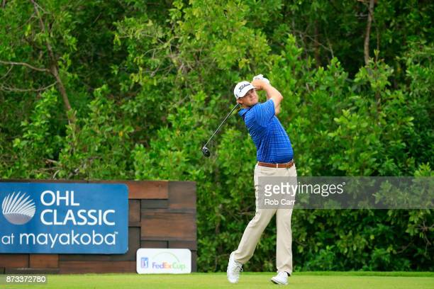 Patton Kizzire of the United States plays his shot from the 17th tee during the final round of the OHL Classic at Mayakoba on November 12 2017 in...