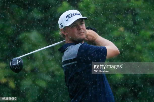 Patton Kizzire of the United States plays his shot from the seventh tee during the second round of the OHL Classic at Mayakoba on November 10 2017 in...