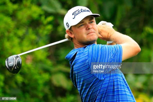 Patton Kizzire of the United States plays his shot from the seventh tee during the final round of the OHL Classic at Mayakoba on November 12 2017 in...