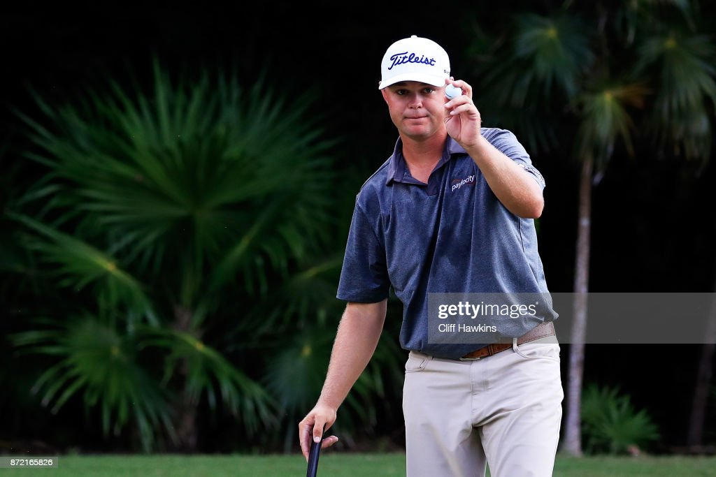 Patton Kizzire of the United States reacts after finishing on the 18th green during the first round of the OHL Classic at Mayakoba on November 9, 2017 in Playa del Carmen, Mexico.