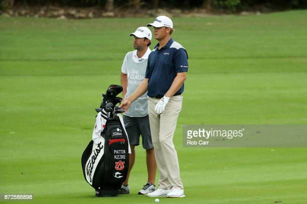 Patton Kizzire of the United States talks with his caddie on the 18th hole during the second round of the OHL Classic at Mayakoba on November 10 2017...