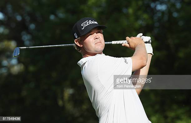 Patton Kizzire of the United States watches his tee shot on the 17th hole during the third round of the World Golf ChampionshipsDell Match Play at...