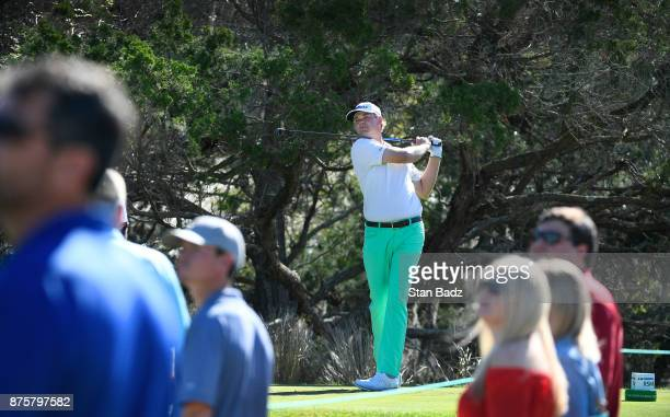 Patton Kizzire plays a tee shot on the second hole during the third round of The RSM Classic at the Sea Island Resort Seaside Course on November 18...