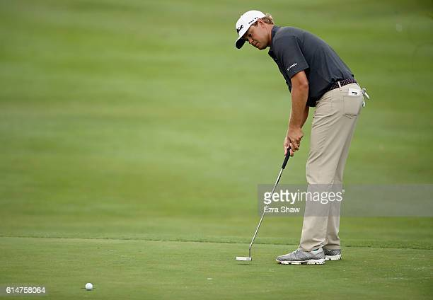 Patton Kizzire putts on the 12th hole during the second round of the Safeway Open at the North Course of the Silverado Resort and Spa on October 14...