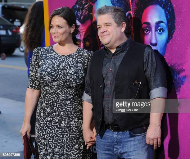 Patton Oswalt and Meredith Salenger arrive at the premiere of AMC's 'Preacher' Season 2 at The Theatre at Ace Hotel on June 20 2017 in Los Angeles...