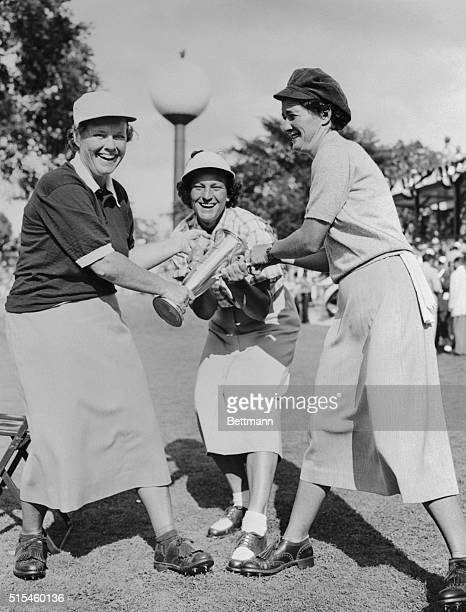 Patty Berg Babe Zaharias and Louise Suggs are shown fighting for the Women's Trophy in the 'World Championship Golf Tournament' at the Tam O'Shanter...