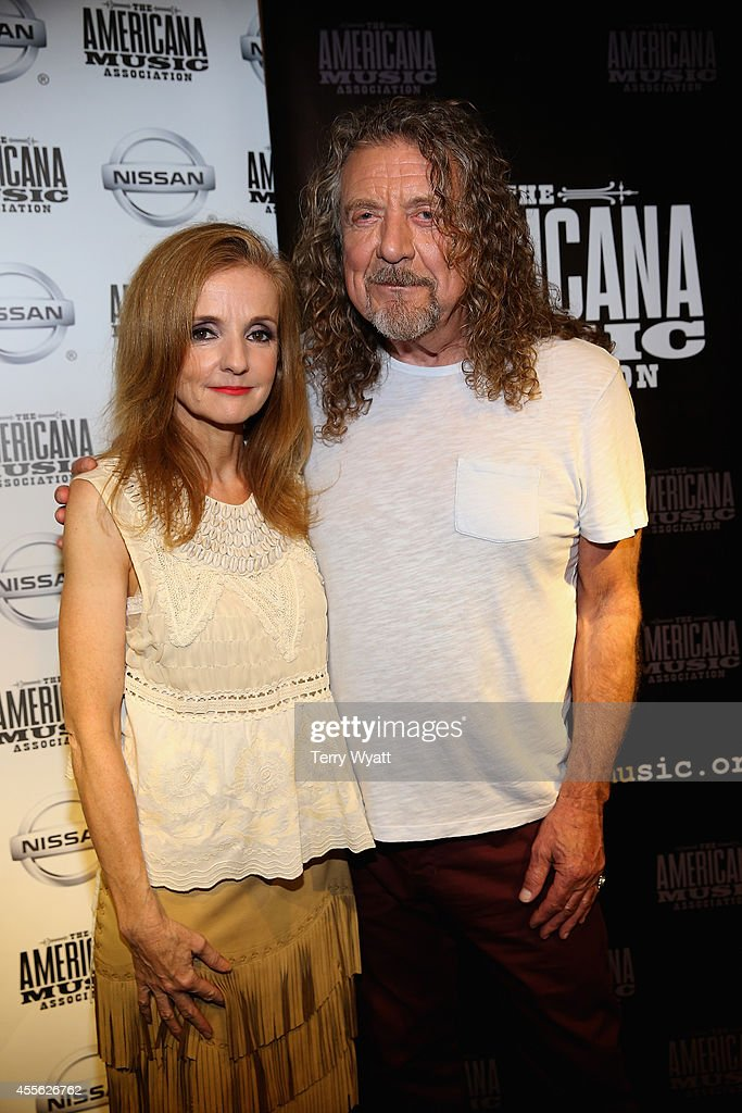 Patty Griffin and Robert Plant pose backstage at the 13th annual Americana Music Association Honors and Awards Show at the Ryman Auditorium on...