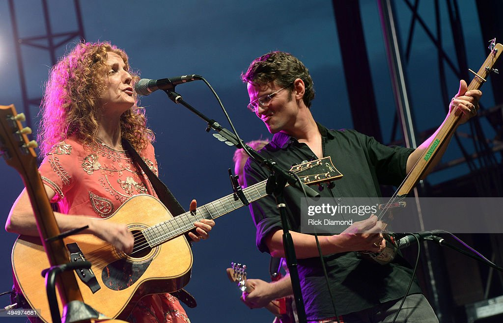 Patty Griffin is joined by Luther Dickinson during Americana's Cross County Lines at The Park at Harlinsdale Farm on May 31, 2014 in Franklin, Tennessee.