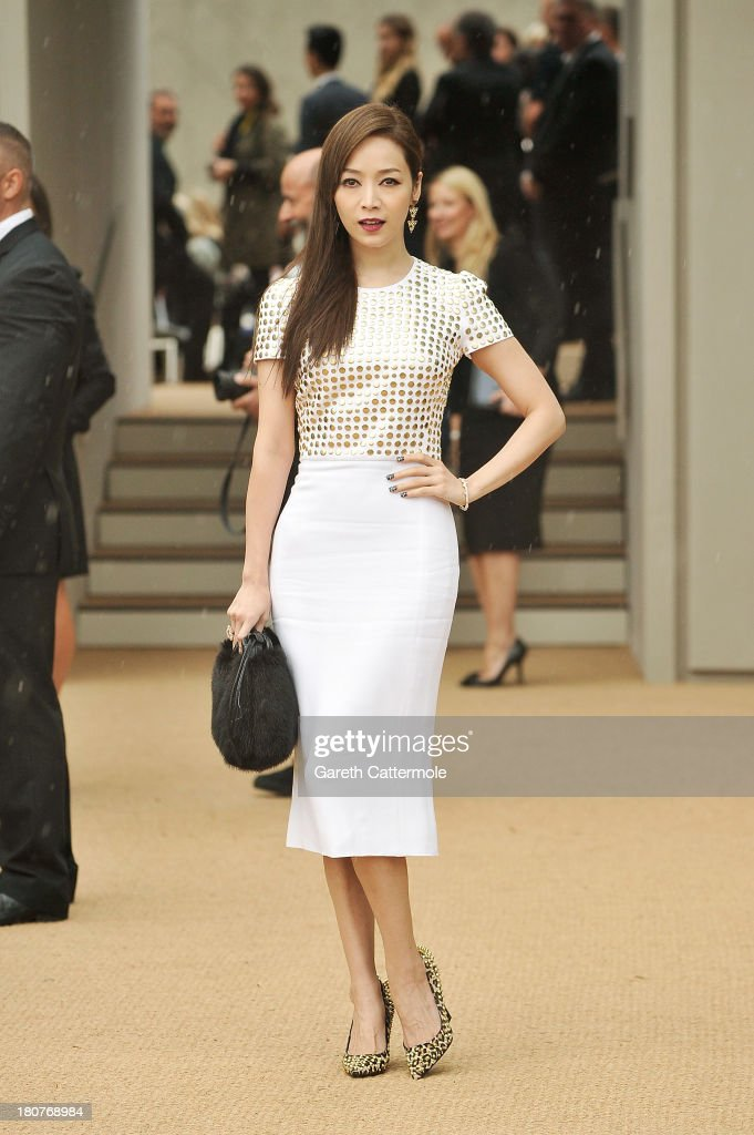 Patty Hou arrives at Burberry Prorsum Womenswear Spring/Summer 2014 show during London Fashion Week at Kensington Gardens on September 16, 2013 in London, England.