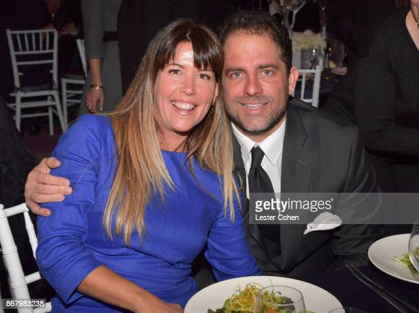 Patty Jenkins and honoree Brett Ratner attend the Jewish National Fund Los Angeles Tree Of Life Dinner at Loews Hollywood Hotel on October 29 2017 in...