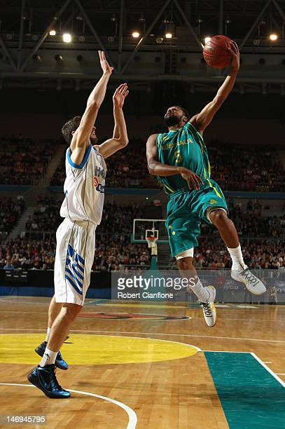 Patty Mills of Australia gets up to score during the first match between the Australian Boomers and Greece at Hisense Arena on June 24 2012 in...