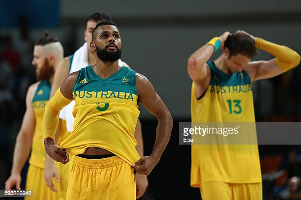 Patty Mills of Australia shows his emotion after losing the Men's Basketball Bronze medal game between Australia and Spain on Day 16 of the Rio 2016...