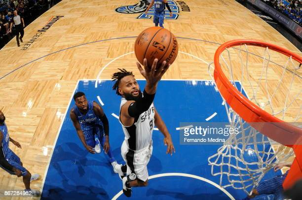Patty Mills of the San Antonio Spurs drives to the basket Orlando Magic on October 27 2017 at Amway Center in Orlando Florida NOTE TO USER User...
