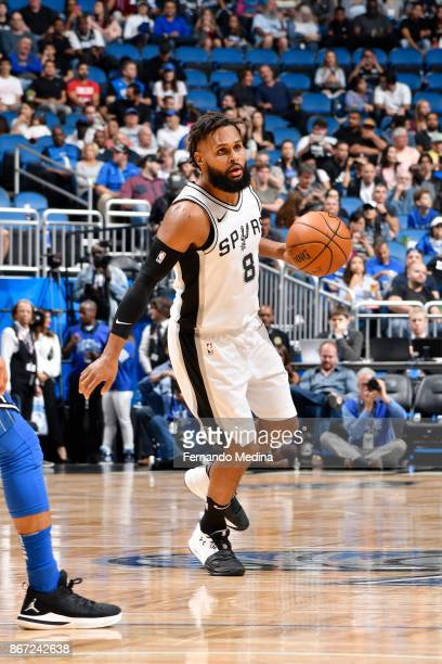 Patty Mills of the San Antonio Spurs handles the ball against the Orlando Magic on October 27 2017 at Amway Center in Orlando Florida NOTE TO USER...