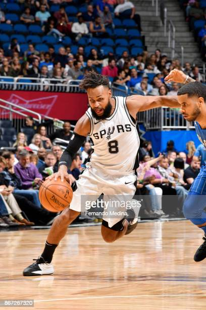 Patty Mills of the San Antonio Spurs handles the ball against the San Antonio Spurs on October 27 2017 at Amway Center in Orlando Florida NOTE TO...