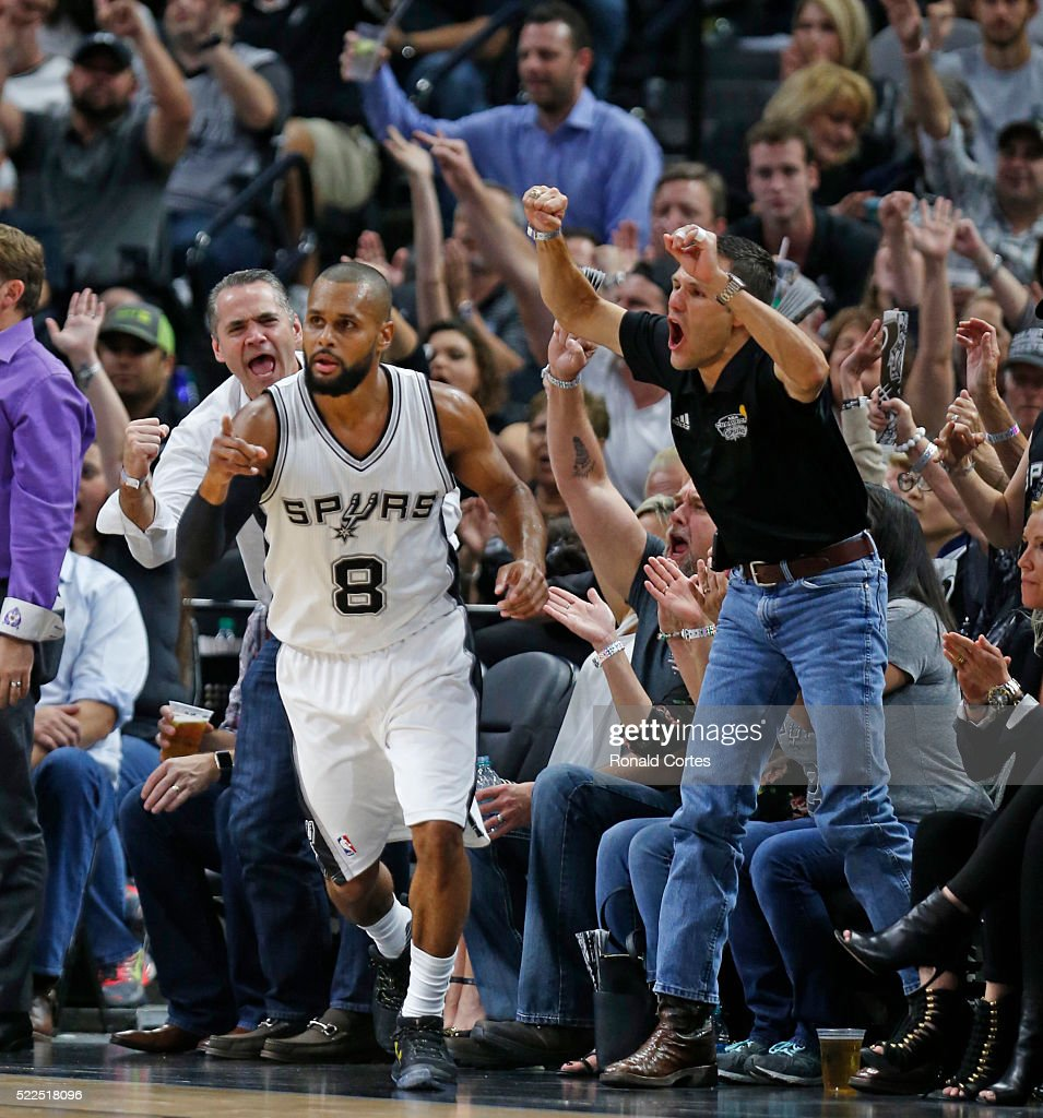 Patty Mills #24 of the San Antonio Spurs has the fans wild after a three pointer against the Memphis Grizzlies of game two of the Western Conference Quarterfinals during the 2016 NBA Playoffs at AT&T Center on April 19, 2016 in San Antonio, Texas.