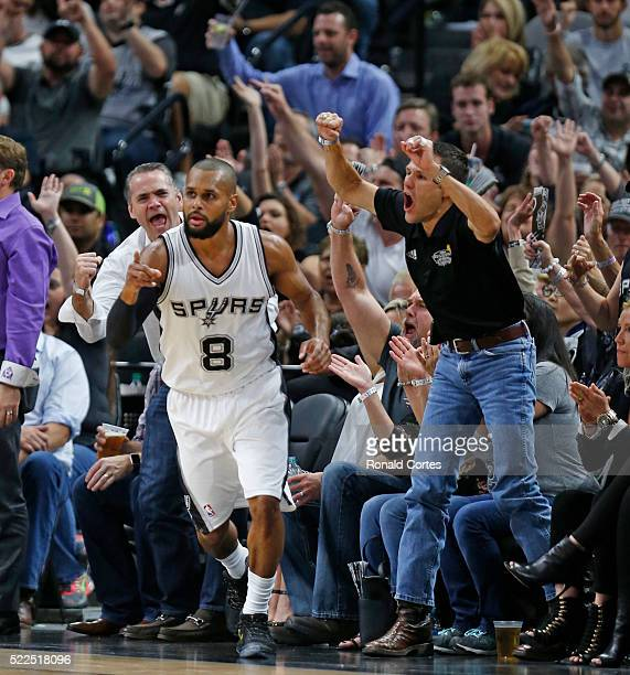Patty Mills of the San Antonio Spurs has the fans wild after a three pointer against the Memphis Grizzlies of game two of the Western Conference...