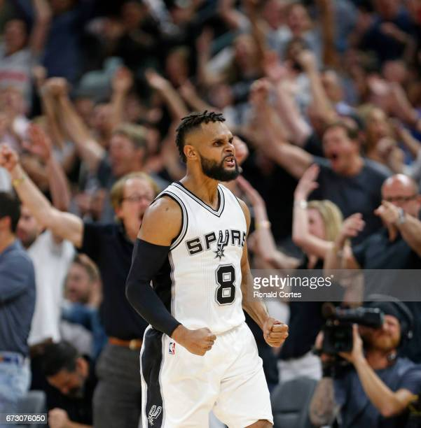 Patty Mills of the San Antonio Spurs reacts after a three against the Memphis Grizzlies in Game Five of the Western Conference Quarterfinals during...