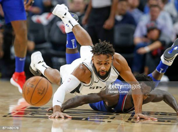 Patty Mills of the San Antonio Spurs steals the ball from Patrick Beverley of the Los Angeles Clippers at ATT Center on November 7 2017 in San...