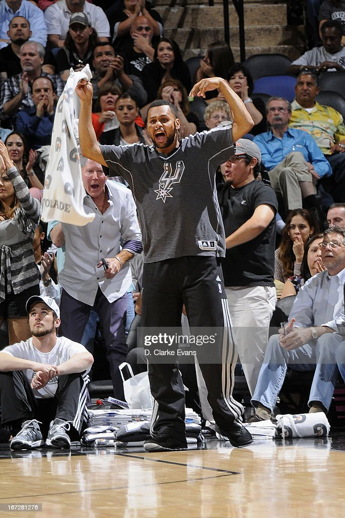 Patty Mills #8 of the San Antonio Spurs yells from the bench during the game against the Utah Jazz on March 22, 2013 at the AT&T Center in San Antonio, Texas.