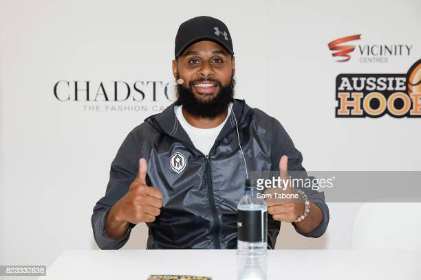 Patty Mills poses during a signing at Chadstone on July 27 2017 in Melbourne Australia