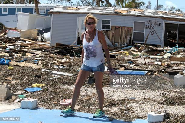 Patty Purdo checks the damage at the Seabreeze trailer park along the Overseas Highway in the Florida Keys on Tuesday Sept 12 2017