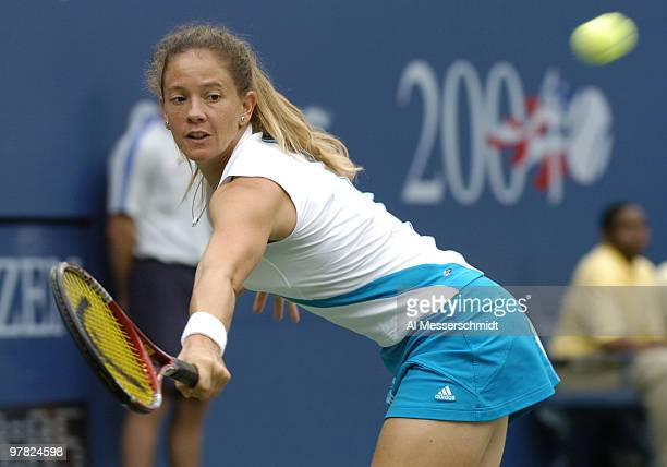 Patty Schnyder loses to Serena Williams in the fourth round of the women's singles September 5 2004 at the 2004 US Open in New York