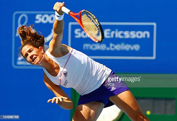 Patty Schnyder of Switzerland competes during her match against Yaroslava Shvedova of Kazakhstan during day two of the 2010 China Open at Beijing...
