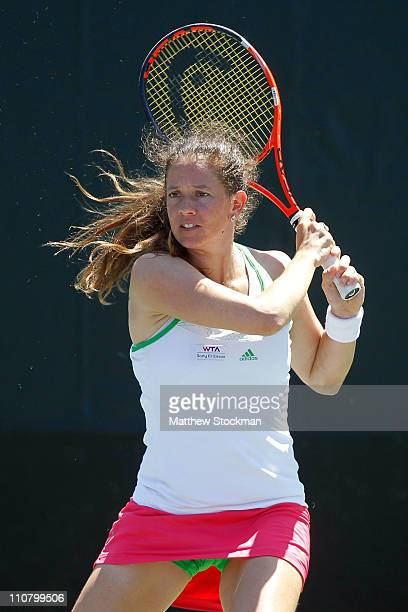 Patty Schnyder of Switzerland follows through on a return against Lucie Safarova of the Czech Republic during the Sony Ericsson Open at Crandon Park...