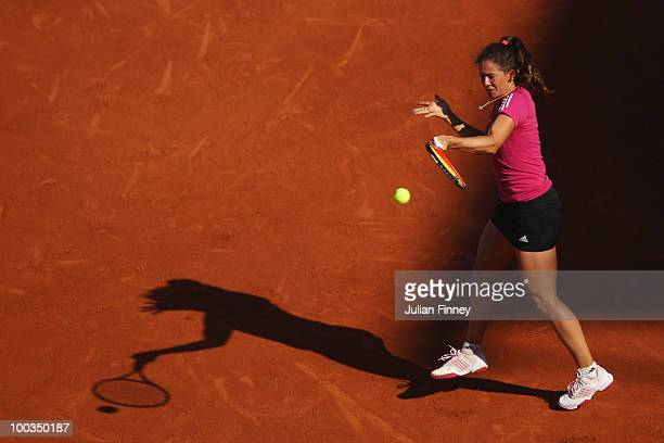 Patty Schnyder of Switzerland plays a forehand during the women's singles first round match between Venus Williams of the United States and Patty...