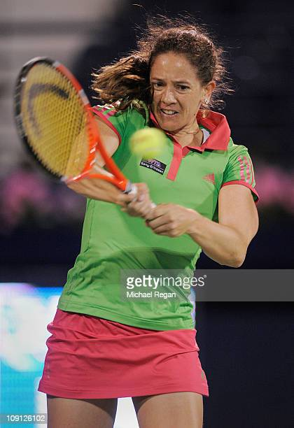 Patty Schnyder of Switzerland plays a shot during her Round 1 match against Ana Ivanovic of Serbia during day two of the WTA Dubai Duty Free Tennis...