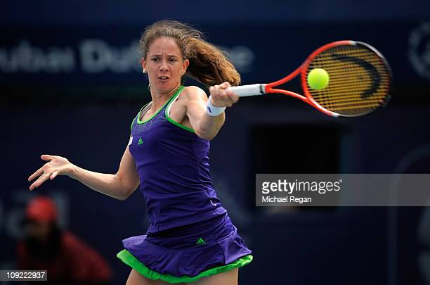 Patty Schnyder of Switzerland plays a shot during her Round 3 match against Samantha Stosur of Australia during day four of the WTA Dubai Duty Free...