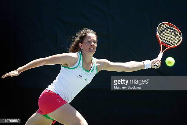 Patty Schnyder of Switzerland reaches for a return against Lucie Safarova of the Czech Republic during the Sony Ericsson Open at Crandon Park Tennis...