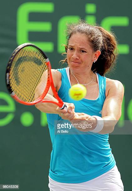 Patty Schnyder of Switzerland returns a shot against Daniela Hantuchova of Slovakia during day three of the 2010 Sony Ericsson Open at Crandon Park...