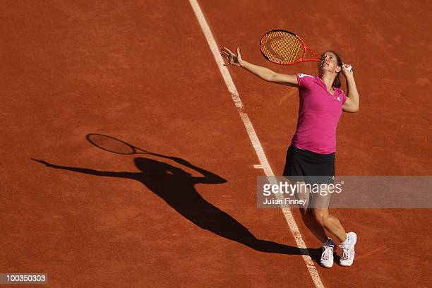 Patty Schnyder of Switzerland serves during the women's singles first round match between Venus Williams of the United States and Patty Schnyder of...