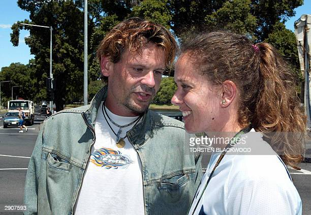 Patty Schnyder of Switzerland takes a walk to the Yarra River in Melbourne along with new husband Rainer Hofmann following her women's singles...