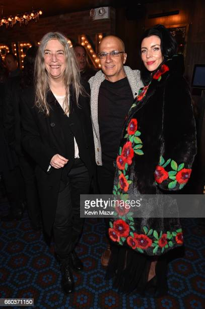 Patty Smith Jimmy Iovine and Liberty Ross attend the after party for 'Ghost In The Shell' New York premiere at The Ribbon on March 29 2017 in New...