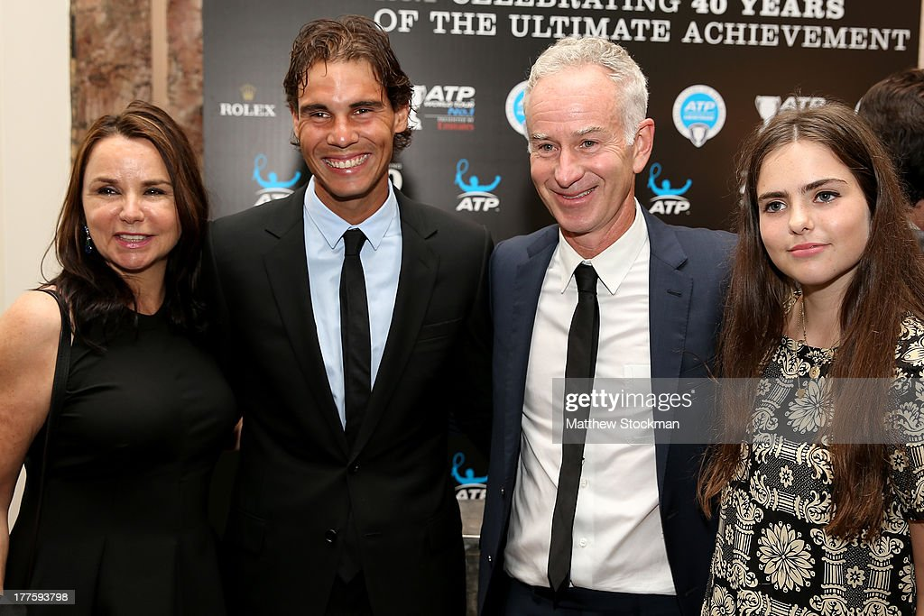 Patty Smyth and John McEnroe pose for a pictutre with Rafael nadal before the ATP Heritage Celebration at The Waldorf=Astoria on August 23, 2013 in New York City.