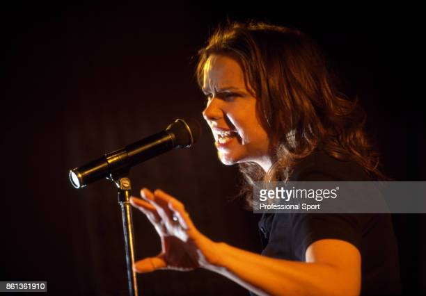 Patty Smyth singer and wife of tennis player John McEnroe performing during a benefit concert for the Vitas Gerulaitis Youth Foundation in New York...