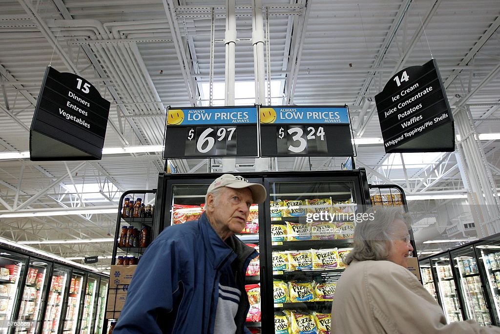 Patty Verhoff and Wid Verhoff are seen shopping inside the new 2,000 square foot Wal-Mart Supercenter store May 17, 2006 in Bowling Green, Ohio. The new store, one of three new supercenters opening today in Ohio, employs 340 people with 60 percent of those working full-time.