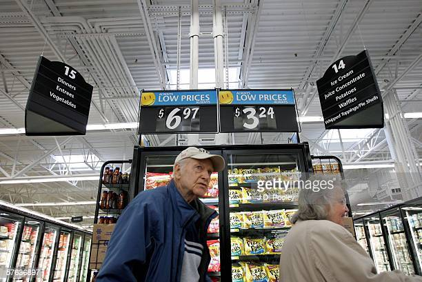 Patty Verhoff and Wid Verhoff are seen shopping inside the new 2000 square foot WalMart Supercenter store May 17 2006 in Bowling Green Ohio The new...