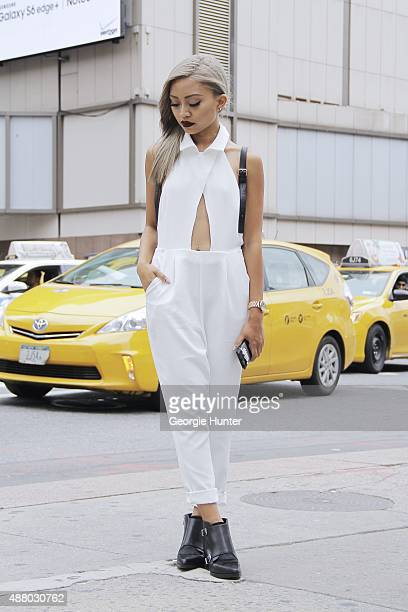 Pau Dictado is seen on the streets of Manhattan outside of the Herve Leger by Max Azria Spring 2016 fashion show at Skylight at Moynihan Station...