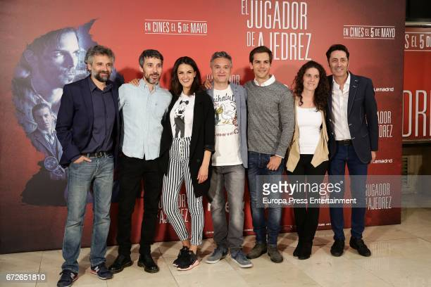 Pau Dura Andres Gertrudix Melina Matthews Luis Oliveros and Marc Clotet attend the 'El Jugador de Ajedrez' photocall at Princesa cinema on April 24...