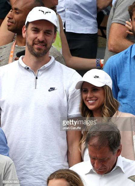 Pau Gasol and his girlfriend Catherine McDonnell attend Rafael Nadal's victory during the men's final on day 15 of the 2017 French Open second Grand...