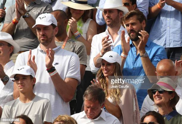 Pau Gasol and his girlfriend Catherine McDonnell Fernando Llorente attend Rafael Nadal's victory on day 15 of the 2017 French Open second Grand Slam...