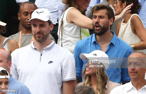 Pau Gasol and his girlfriend Catherine McDonnell Fernando Llorente attend Rafael Nadal's victory during the men's final on day 15 of the 2017 French...