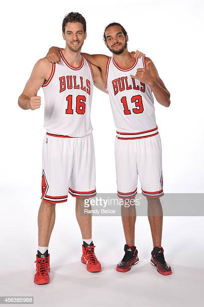 Pau Gasol and Joakim Noah of the Chicago Bulls pose for a picture as part of 201415 NBA Media Day at The Advocate Center on September 29 2014 in...