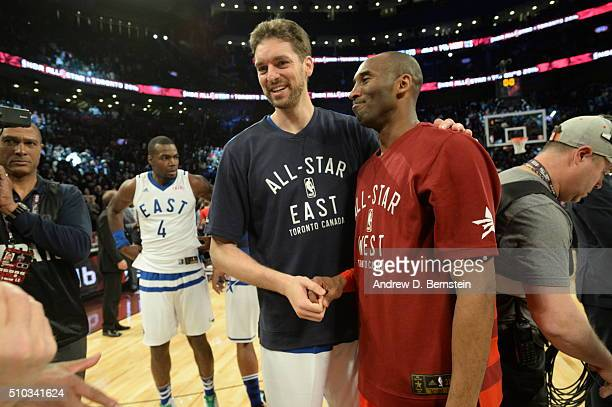 Pau Gasol and Kobe Bryant of the Western Conference pose for a photo after the NBA AllStar Game as part of 2016 NBA AllStar Weekend on February 14...